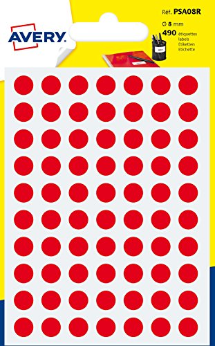 Avery España PSA08R - Pack de 490 gomets, color rojo