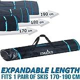 Athletico Dynamic Adjustable Length Ski Bag - Padded Ski Bag Adjusts from 170cm to 190cm