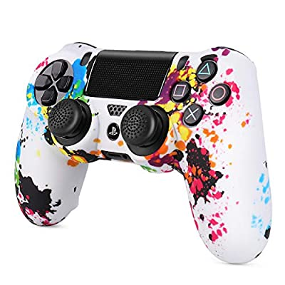 TNP PS4 / Slim/Pro Controller Skin Grip Cover Case Set - Protective Soft Silicone Gel Rubber Shell & Anti-Slip Thumb Stick Caps for Sony Playstation 4 Controller Gaming Gamepad Camo Series