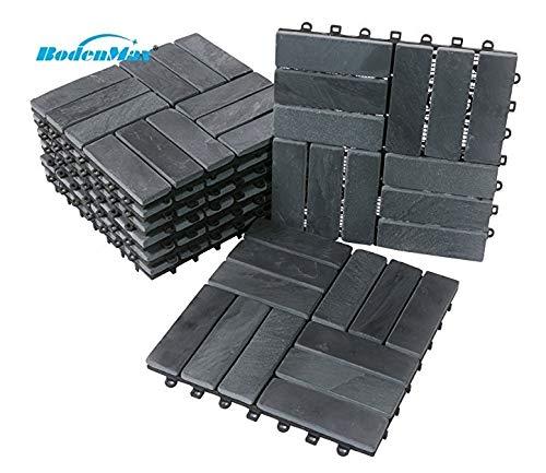 BodenMax® LLSLA3H-BLK-5-YP leisteen-barok patroon klikvloertegels set 30 x 30 cm terrastegels terrasplaat tegel binnen gebruik buiten grijszwart (2 stuks, 0,18 m², patroontegels)