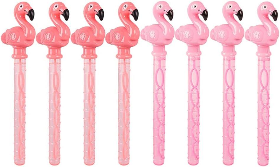 Kisangel 8pcs Flamingo Bubble Wand Bottle Summer Tropical Patter