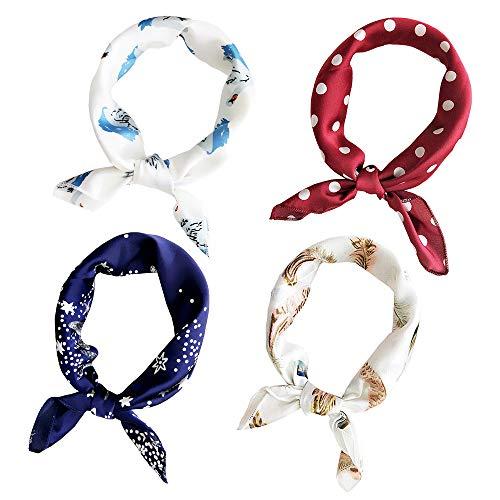 Jurxy 4 Stück Damen Seidenschal Damenschal Drucken Seidentuch Quadratischer Schal Kopftuch Halstuch Farbig Printed Halstuch - 50x50cm - Stil 5
