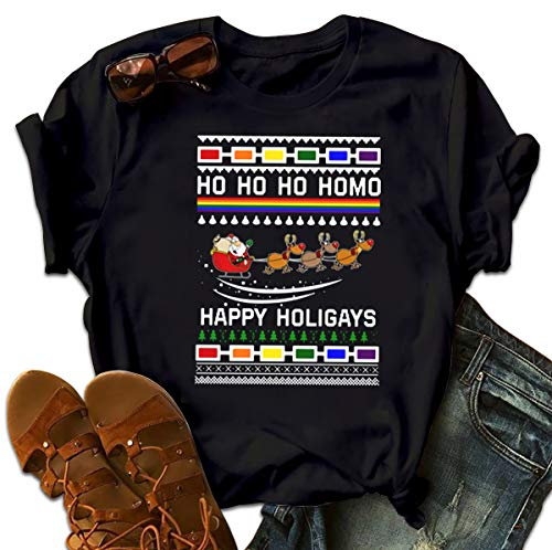 BIBILU LGBT Santa Riding Reindeer Ho Ho Ho Homo Happy Holigays Ugly Christmas T Shirt Christmas Birthday Tshirt for Unisex Gift Sweater Tank Top
