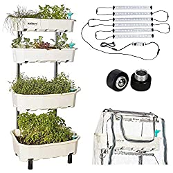 Combo: Year-Round Vertical Freestanding Garden Planter (4 Tier, White) Plus Expansion Packs For Indoor Outdoor Use: Altifarm Urban Grow System + Grow Lights + Greenhouse Cover + Mobility Wheels
