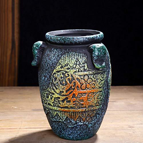 XHZJ Estilo de ollas de cerámica Vintage 6, ollas de condimento, ollas maestras, vasijas de Barro ásperas, Personalidad Creativa, macetas de Flores mediterráneas pequeñas y Medianas