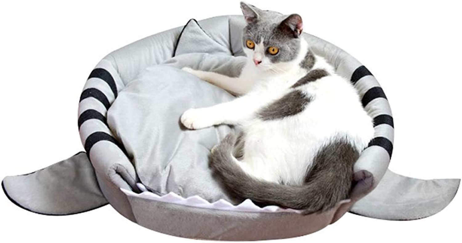 QZX Pet Bed Cat Bed Cat Cave House Bed With A Soft Removable Cushion Cozy Washable For Kitten and Medium Cat Shark shape cat Den