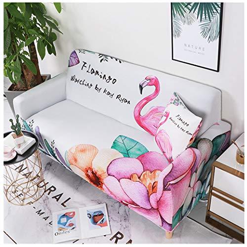 Flexibilité Étirable Housse de Canapé Feuilles de Flamant Tropical 3D Vert Rose Housse de Canapé Accoudoir Objet Prévention des Rayures Salon Hôtel 1pcs (Style6,1 Place)