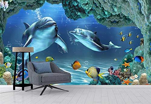 Fototapete 3D Effekt Tapete Wandbild Delphin Fisch Unterwasserwelt Wandtapete Vliestapete Wandbilder XXL Wanddeko