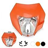 JFG RACING Orange Universal Headlight Head Lamp Light Fairing Street Fighter Mask Day Running Light Turn Signal Lights For EXC250 SX250 SXF250 EXC450 SX350 SXF450 EXC525 640LC4