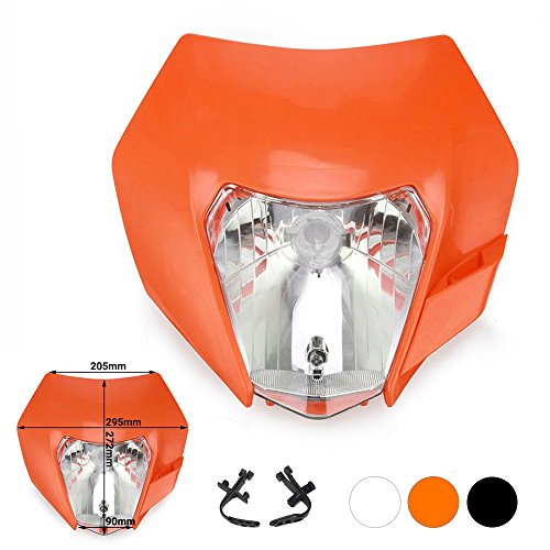 JFG RACING Orange Universal Headlight Head Lamp Light Fairing Street Fighter Mask Day Running Light Turn Signal Lights For EXC250 SX250 SXF250 EXC450 SX350 SXF450 EXC525 640LC4