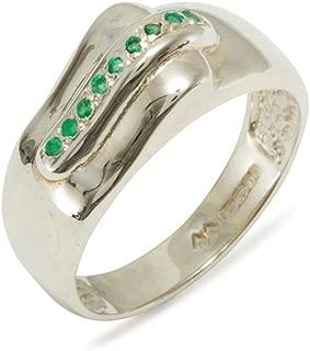 mens silver emerald ring