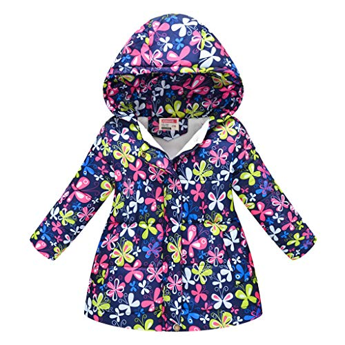 Shan-S Toddler Kids Baby Girls Boys Children's Long-Sleeved Floral Flower Print Hooded Cotton Coat Winter Thick Warm Hooded Jacket Windproof Coat 3-8 Years