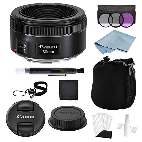 Canon EF 50mm f/1.8 STM Lens + Advanced Lens Accessory Kit - Includes to Get Started