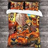 Amacigana Ropa de cama infantil Naruto de 135 x 200 cm, con dibujos animados, juego de cama doble para adolescentes Student Boys Uzumaki 200 x 220 cm (Naruto7,155 x 220 cm/80 x 80 cm)