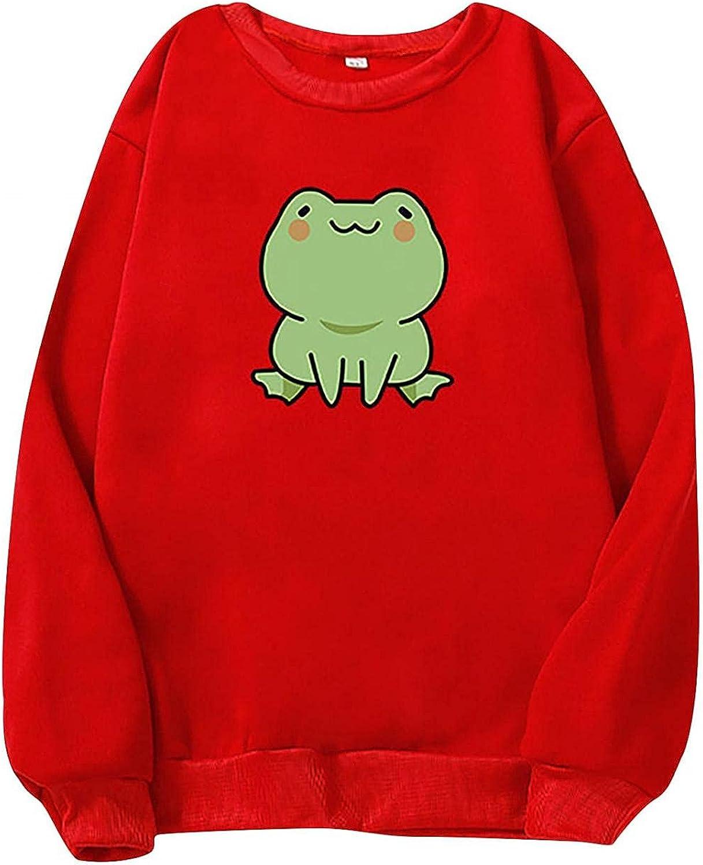 MASZONE Hoodies for Women Pullover Graphic Casual Lightweight Long Sleeve Hoodies Teen Girls Cute Frog Print Sweatshirt