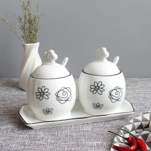 blikjes voor Thee Koffie en Suiker Vegetatie Bloem Bladeren Suikerkom Thuis Keuken Set Ceramica Zout Condiment Pot Potten met Lepel-2_pcs
