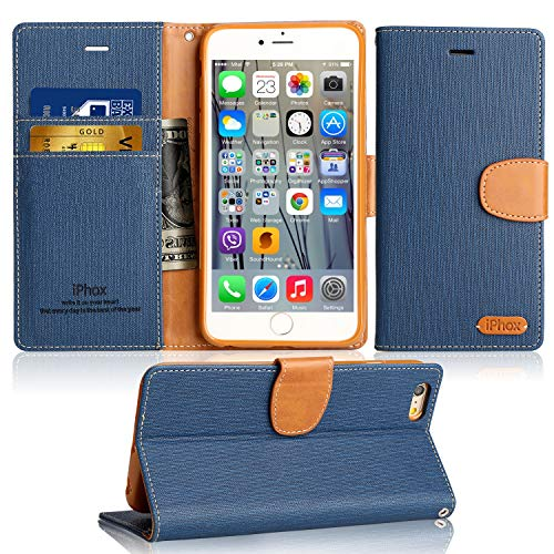 IPHOX Funda Compatible Con iPhone SE 2016 (No para 2020) / iPhone 5S / iPhone 5, Funda con Tapa de Cuero con Cartera en Folio Premium Para Apple iPhone SE 2016 / 5S / 5, Blue/J
