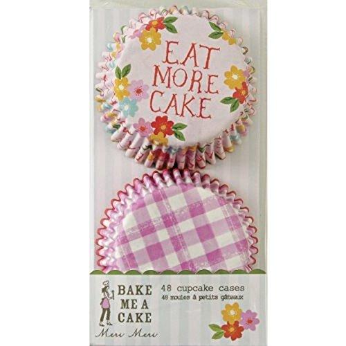 Meri Meri 45-0617 - Set di 48 pirottini per cupcake, diametro base 5,2 cm, 2 motivi assortiti (rosa e bianco a quadretti e fiori su sfondo rosa con scritta 'Eat More Cake)