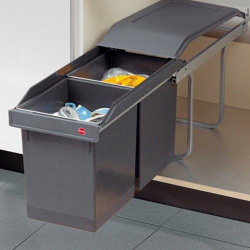 Hailo Tandem Küchen-Abfalleimer, Plastik, Grau, One Size