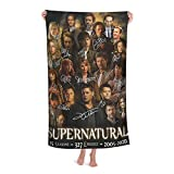 Saving People Hunting Things Supernatural Bath Towel 15 Years TV Show Merchandise Winchester Brothers Poster Collection Fast Dry Super Soft Beach Towels Blanket for Pool Travel Birthday Fans Gifts