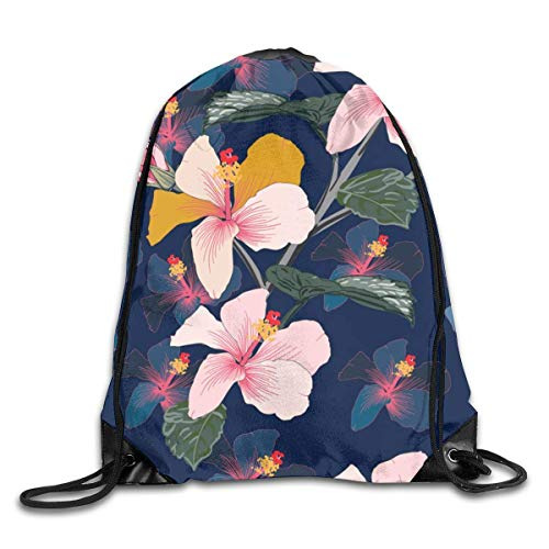 Lawenp Seamless Floral Pattern Pink Pastel Color Hibiscus Flowers Drawstring Bag, Sports Cinch Sacks String Drawstring Backpack for Picnic Gym Sport Beach Yoga