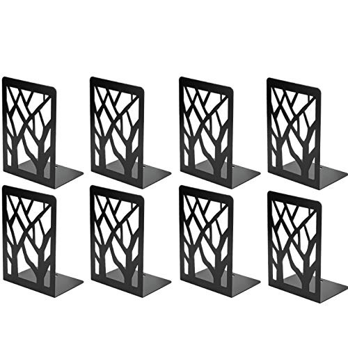 MaxGear Book Ends, Bookends, Book Ends for Shelves, Bookends for Shelves, Bookend,Book Ends for Heavy Books,Book Shelf Holder Home Decorative,7x4.7x3.5 in,Metal Bookends Black(4 Pairs/8 Pieces,Large)