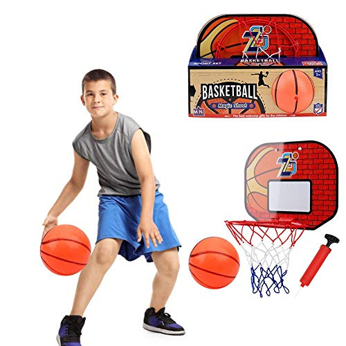 Mini Basketballkorbset über der Tür Kunststoff Basketballkorb mit Basketball und Pumpe, für Kinder Erwachsene Indoor Office Desktop Basketballspiele