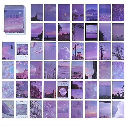 DONLAONE フレークシール かわいい 大量 ステッカー オシャレ 手帳用 海外のシール セット おしゃれ ノート カレンダー スケジュール帳 アルバム 風景 ステッカー レトロ かっこいい 可愛い 和紙 シール 大人 50枚セット(紫の詩集)