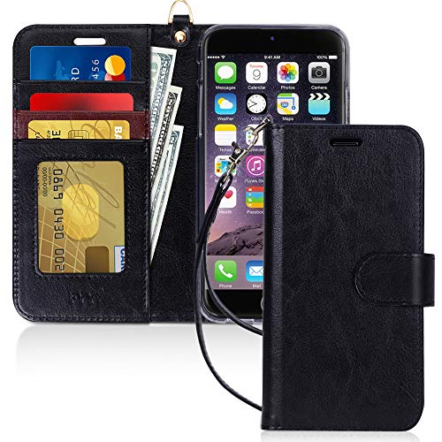 FYY Cover iPhone 8 Plus, Custodia iPhone 8 Plus, Cover iPhone 7 Plus, Flip Custodia Portafoglio Libro Pelle PU con Porta Carte e Chiusura Magnetica per iPhone 7 Plus/8 Plus- Nero