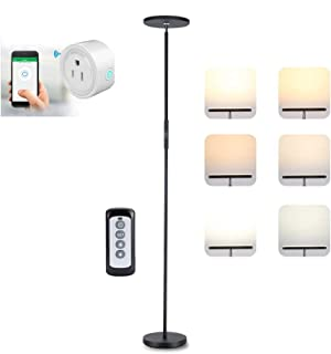 LONGBRITE LED Torchiere Floor Lamp, Dimmable Modern Reading Tall Standing Uplight Lamp for Living Room Bedroom, Touch and Remote Control Floor Light, 3 Color Temperatures, Stepless Dimming, 20W