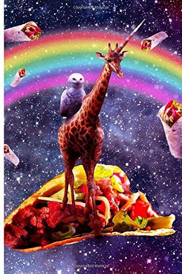 ピークホイール荷物Space Owl Riding Giraffe Unicorn - Taco & Burrito Journal Notebook