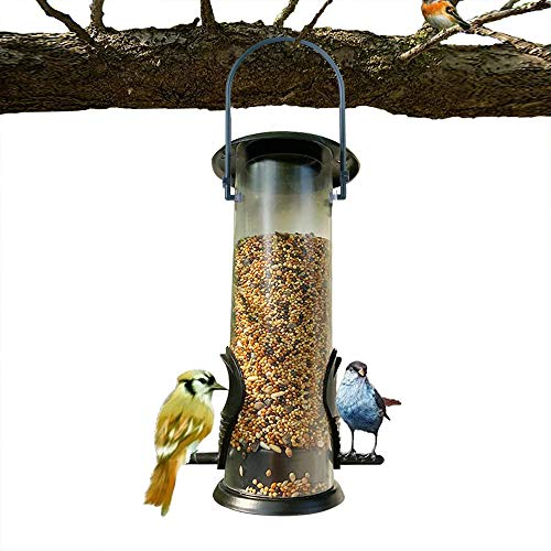 DXSC Bird Feeder,Outdoor Feeding Portable Wild Birds Tube Feeder,Solid Hard Tube,Chew-Proof and Lasts A Lifetime, Weatherproof and Water Resistant