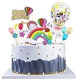 Decoración para Tartas Arco Iris 17 Piezas Birthday Cake Decorations Cupcake Topper incluye Arcoiris, Globos, Happy Birthday Señalización y Nube, Decoración Cumpleaños Cupcake