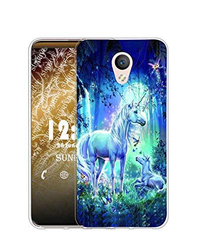 Sunrive Cover Compatibile con Meizu M5 Note, Custodia Case in Molle Trasparente Silicone Morbida Flessibile AntiGraffio Protettiva Back custodie(Q Unicorno 3)