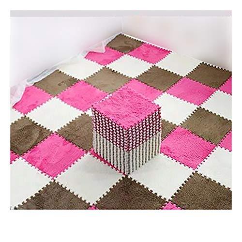 Azulejos de espuma entrelazada alfombras de espuma de felpa cuadrados esteras para sala de estar, dormitorio, cocina y piso duro-marrón oscuro+rojo rosa+blanco 26×26×1cm 30pcs