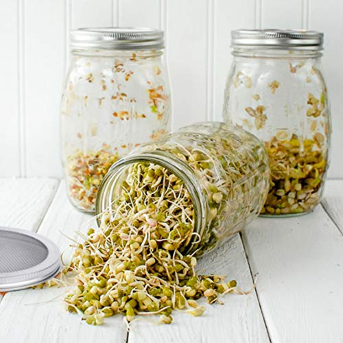 Acehome Seed Sprouting Jar Kit, with 100% Rust Free Stainless Steel Mesh Sprout Lid and Sprouting Stand, Wide Mouth Mason Sprout Jar Lids Kit to Make Sprout (Seeds not Included) (16oz 500ml)