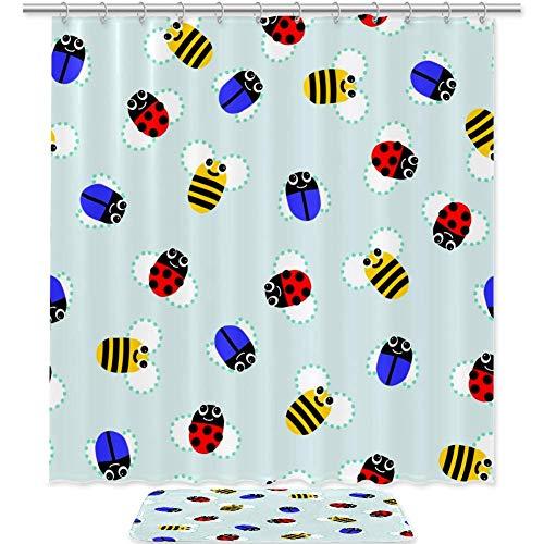 FURINKAZAN Duschvorhang, Marienkäfer & Biene, maschinenwaschbar, dekoratives Badezimmer, Stoff, Badezimmer-Dekor-Set mit wasserdichtem Waschbar, 177,8 x 177,8 cm