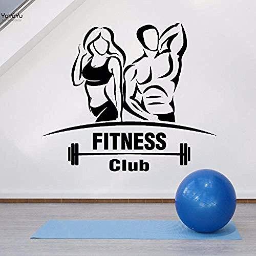 Etiqueta De La Pared Vinilo Tatuajes De Pared Gimnasio Fitness Club Deporte Decoración De La Pared Sala De Estar Letrero Hermoso Cuerpo Cartel Tamaño: 56 * 48cm
