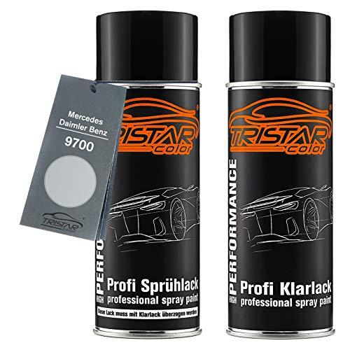 TRISTARcolor Autolack Spraydosen Set für Mercedes/Daimler Benz 9700 Silber Metallic Basislack Klarlack Sprühdose 400ml