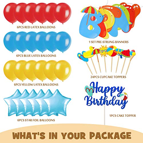 Beach Ball Party Decoration Kit Beach Themed Party Banner Cake Topper Pool Party Cupcake Toppers Balloons for Beach Birthday Party Summer Themed Birthday Party Swimming Party Supplies