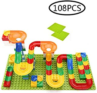 108 PCS Crazy Ball Marble Run Building Blocks Toys Set Marble Race Track for 3+ Year Old Marble Roller Coaster Building Block Toys Creative Gifts for Kids(4 Balls Included)