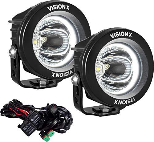 Vision X Lighting (XIL-OPRH115KIT) Optimus Round Halo 1, 10W LED, Emark Approved, 15 Degree Narrow, 2 Light Kit, Black