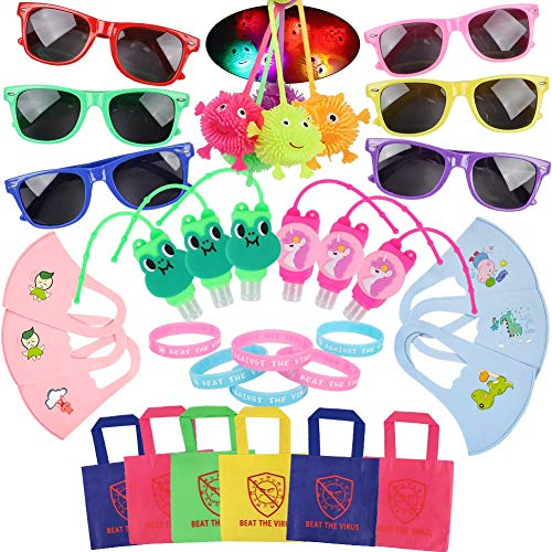 36 Pcs Quarantine Party Favors Supplies - Beat The Virus Bracelet Sunglasses Tote Bag Hand Sanitizer Holder Baby Bib Puffer Ball Social Distancing Stay Home Birthday Decorations Gift Toy for Kids