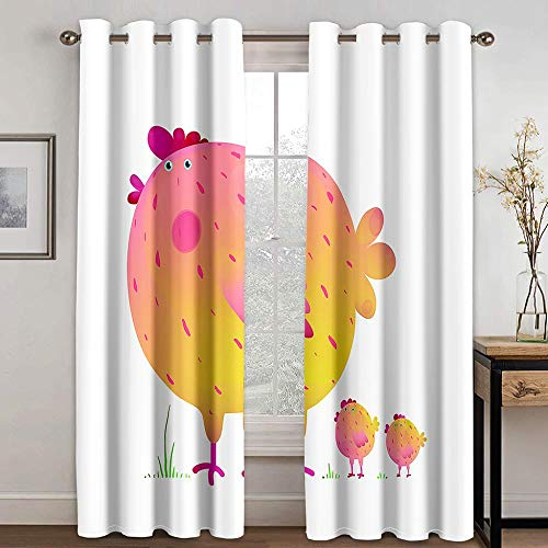 CLYDX Blackout Curtains Thermal Insulated Window Hen Blocked Curtain for Home Decoration Thermal Curtains Drop for Kitchen Living Room Bedroom, Size: 23'x54' x 2 Panel