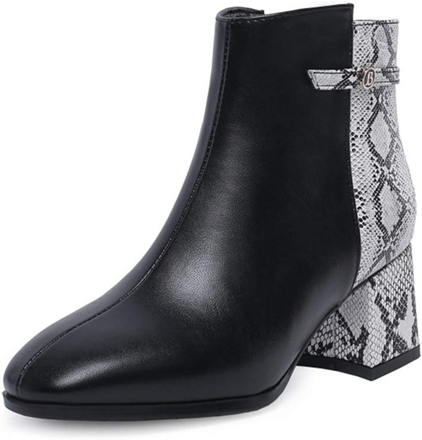 Woman Ankle Boots Mid Chunky Heel Zipper Snake Print PU Round Toe Ladies Sexy Fashion Buckle Party Short shoes
