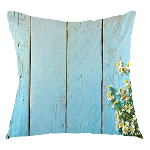 FULIYA Daisy Throw Pillow Cushion Cover Picturesque of a Bouquet on a Wooden Table Decorative Square Accent Pillow Case, 22' X 22',Pale Blue Green