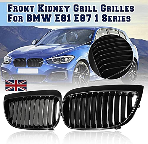lndytq 2 Piezas de Rejilla Frontal de Estilo de Coche para BMW E81 E87 1 Series 2004 2005 2006 2007, Parrillas de Carreras, Negro Brillante M, Negro Brillante M