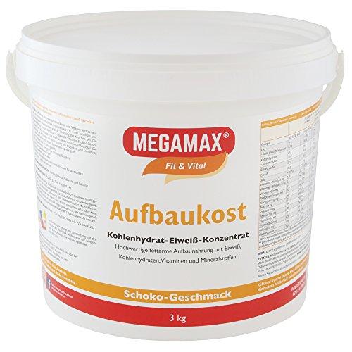 MEGAMAX - Aufbaukost - Suplemento para ganar peso y masa muscular - Chocolate - Solo un 0,7% de grasa - 3 kg