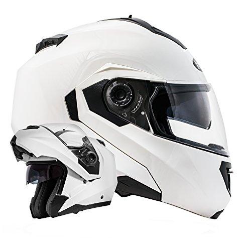 ATO Moto Montreal Weiß Größe M 57-58cm Klapphelm mit Doppelvisier System und der neusten Sicherheitsnorm ECE 2205