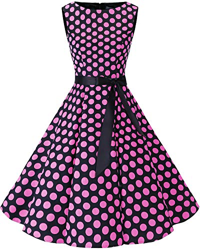 Bbonlinedress Women's Retro 1950s Vintage Swing Rockabilly Party Cocktail Dress Black Pink BDot 2XL